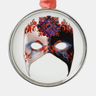 Masque veneciano: Joya del carnaval Adorno Navideño Redondo De Metal