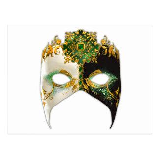 Masque veneciano: Joya esmeralda Tarjetas Postales