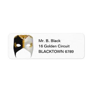 Masque veneciano: Negro, blanco y oro Etiqueta De Remite