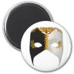 Masque veneciano: Negro, blanco y oro Imán