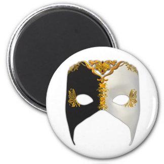 Masque veneciano: Negro, blanco y oro Imán Redondo 5 Cm