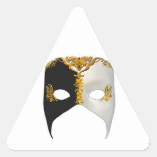 Masque veneciano: Negro, blanco y oro Pegatina Triangular