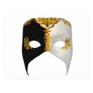 Masque veneciano: Negro, blanco y oro Postal