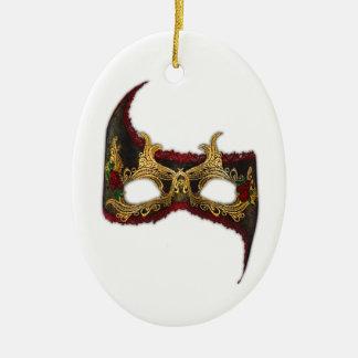 Masque veneciano: Oro y rosa rojo Adorno Navideño Ovalado De Cerámica