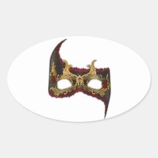 Masque veneciano: Oro y rosa rojo Pegatina Ovalada