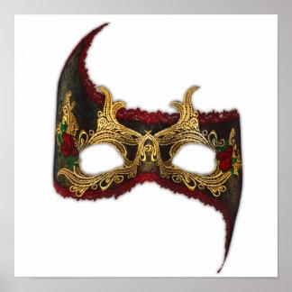 Masque veneciano: Oro y rosa rojo Póster
