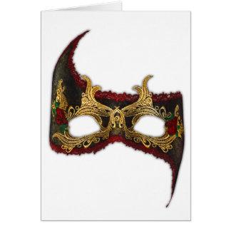 Masque veneciano: Oro y rosa rojo Tarjeta De Felicitación