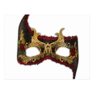 Masque veneciano: Oro y rosa rojo Postal