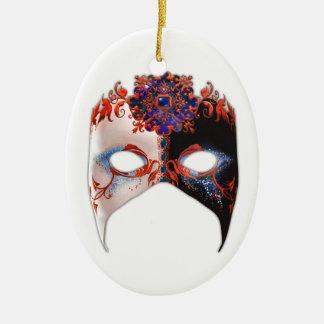 Masque veneciano: Óvalo de la joya del carnaval Adorno Navideño Ovalado De Cerámica