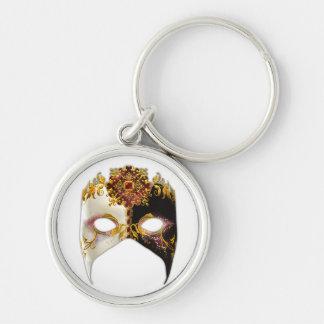 Masque veneciano: Ronda superior de la joya de rub Llavero Redondo Plateado
