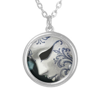 MASQUERADE 2 (blue) Round Pendant Necklace