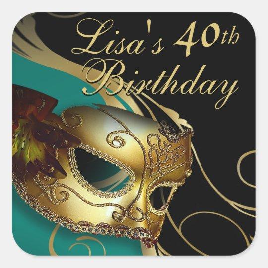 Masquerade 40th Birthday Party Sticker