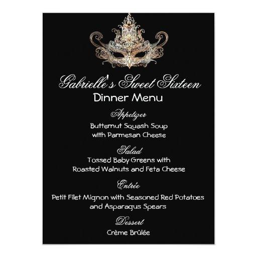 Masquerade Ball Dinner Menu Card | Zazzle