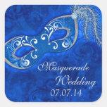 Masquerade Ball Mardi Gras Blue Wedding Square Sticker