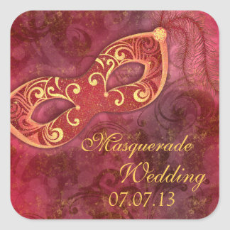 Masquerade Ball Mardi Gras Burgundy Wedding Square Sticker