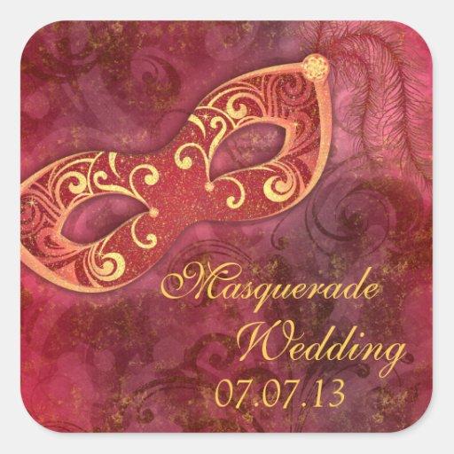 Masquerade Ball Mardi Gras Wedding Envelope Seal Square Stickers