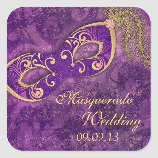 Masquerade Ball Mardi Gras Wedding Purple Square Sticker