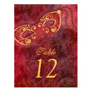 Masquerade Ball Mardi Gras Wedding Table Cards Post Cards