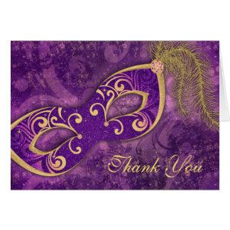 Masquerade Ball Mardi Gras Wedding Thank You Stationery Note Card