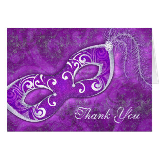 Masquerade Ball Mask Purple Wedding Thank You Stationery Note Card