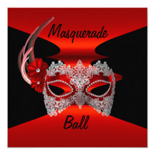 Masquerade Ball Masks Red Silk Black Invite Party