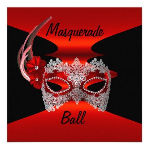Masquerade Ball Masks Red Silk Black Invite Party Invites