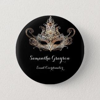 Masquerade Ball Name Badge Pinback Button