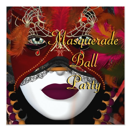 Masquerade Ball Party Mask Black Red 2 Card