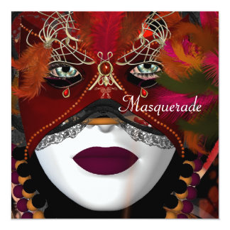 Masquerade Ball Party Mask Black Red 2 5.25x5.25 Square Paper Invitation Card