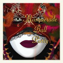 Masquerade Ball Party Mask Black Red 2 Invitation