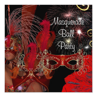 Masquerade Ball Party Mask Black Red Showgirl 3 Card