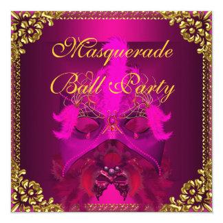 Masquerade Ball Party Masks Gold Deep Pink Card