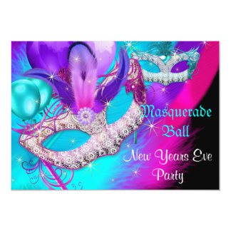 Masquerade Ball Party Masks New Years Eve Party Card