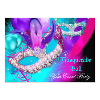 Masquerade Ball Party Masks Purple Teal Blue Pink 5x7 Paper Invitation Card