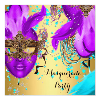 Masquerade Ball Party Purple Teal Blue Masks Gold Card