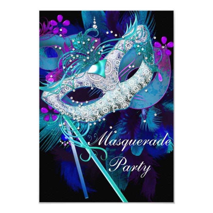 masquerade ball masks templates - masquerade ball party teal blue black masks card zazzle