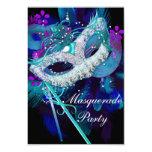 Masquerade Ball Party Teal Blue Black Masks 3.5x5 Paper Invitation Card