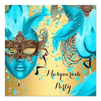 Masquerade Ball Party Teal Blue Masks Gold 3 Card