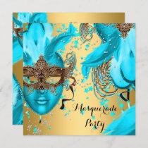 Masquerade Ball Party Teal Blue Masks Gold 3 Invitation