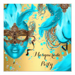 Masquerade Ball Party Teal Blue Masks Gold 3 5.25x5.25 Square Paper Invitation Card