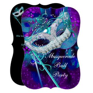 Masquerade Ball Party Teal Blue Purple Masks B Card