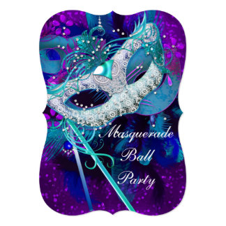 Masquerade Ball Party Teal Blue Purple Masks B 5x7 Paper Invitation Card