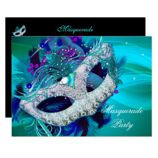 Masquerade Ball Party Teal Blue Purple Masks D Card