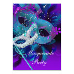 Masquerade Ball Party Teal Blue Purple Masks 4.5x6.25 Paper Invitation Card