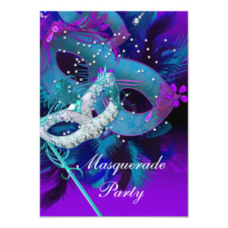 Masquerade Ball Party Teal Blue Purple Masks Personalized Invitations
