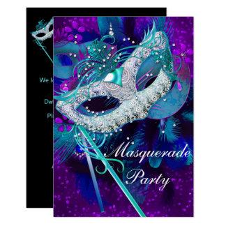 Masquerade Ball Party Teal Blue Purple Masks SML Card