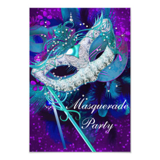 Masquerade Ball Party Teal Blue Purple Masks SML Custom Announcements