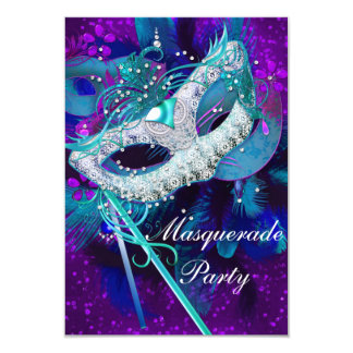 Masquerade Ball Party Teal Blue Purple Masks SML 3.5x5 Paper Invitation Card