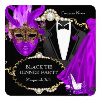 Masquerade Ball Purple Black Tie Dinner Party Card