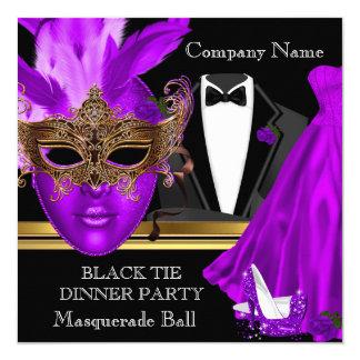 Masquerade Ball Purple Black Tie Party 5.25x5.25 Square Paper Invitation Card
